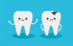 illustration happy tooth and moody tooth